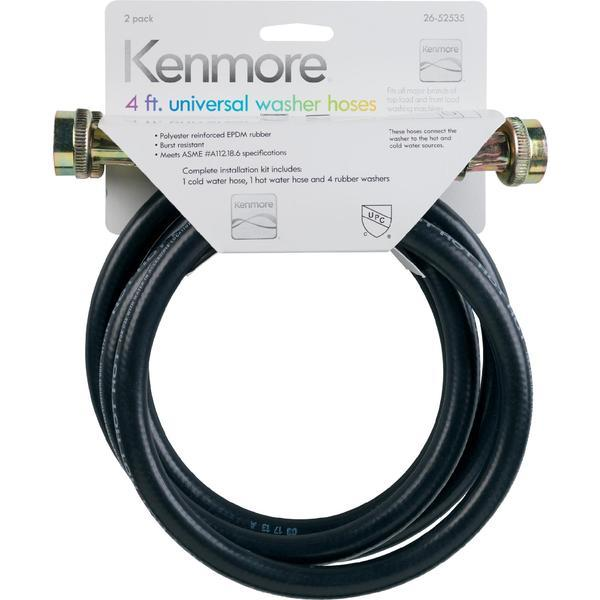 Kenmore 52535 4 Ft. Rubber Universal Washing Machine Hose - 2 Pack