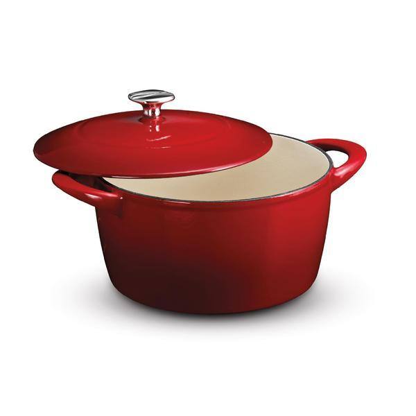 Kenmore 5.5-Quart Red Cast-Iron Dutch Oven with Lid
