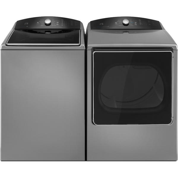 Kenmore 5.3 cu. ft. Top-Load Washer w/Triple Action Impeller & 8.8 cu. ft. Dryer w/Steam Refresh - Metallic