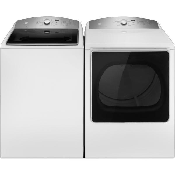 Kenmore 5.3 cu. ft. Top-Load Washer w/Triple Action Impeller & 8.8 cu. ft.Dryer w/Steam Refresh - White
