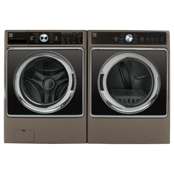 Kenmore Elite 5.2 cu. ft. Front-Load Washer and 9.0 cu. ft. Front Control Dryer Bundle - Metallic Silver