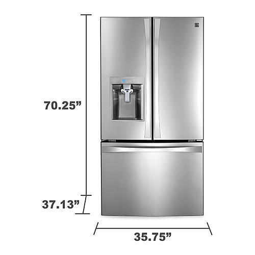 elite stainless door kenmore cu doors french steel ft refrigerator