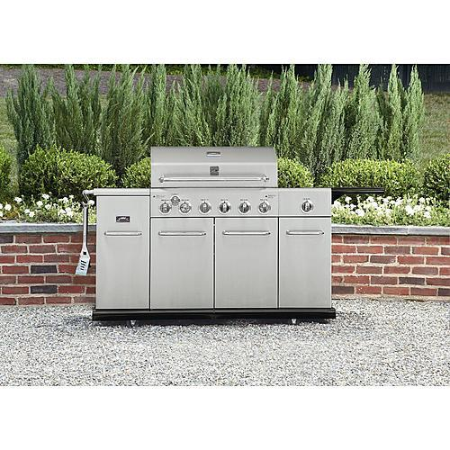 Kenmore 6 Burner Stainless Steel front Gas Grill With Smoker