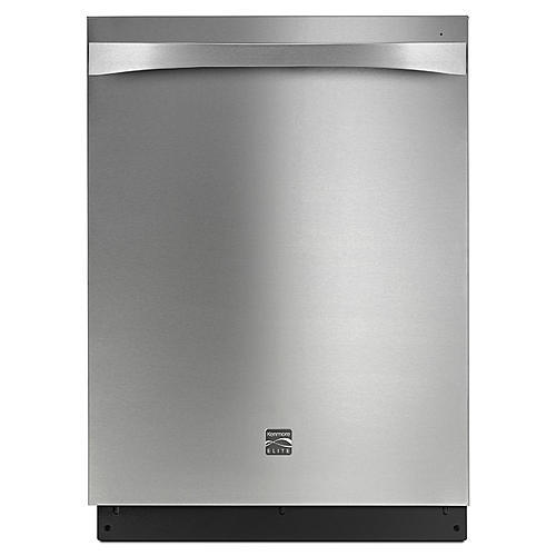 Kenmore Elite 14833 Dishwasher with Interior LED Lighting/Smooth Glide Upper Rack - Stainless Exterior with Stainless Steel Tub at 44dBa