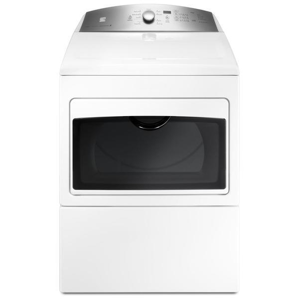 """Kenmore 2670372K  27"""" 7.4 cu. ft. Gas Dryer with Glass Hamper Door - White"""